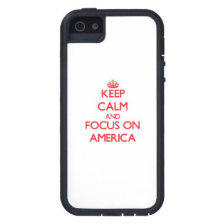 Keep calm and focus on AMERICA iPhone 5/5S Cover