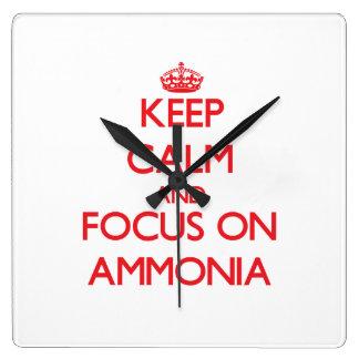Keep calm and focus on AMMONIA Square Wallclock