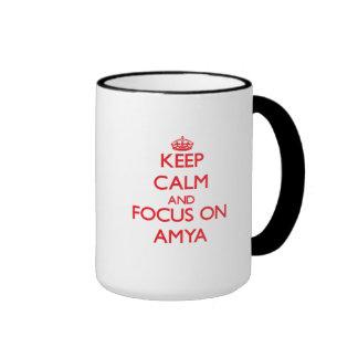 Keep Calm and focus on Amya Ringer Coffee Mug