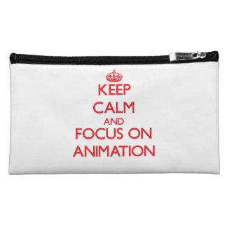 Keep calm and focus on Animation Cosmetic Bags