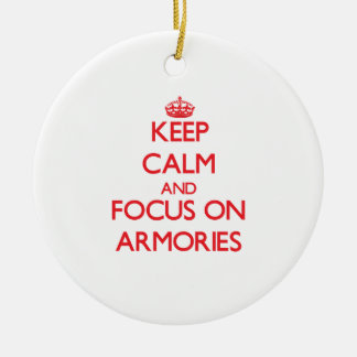 Keep calm and focus on ARMORIES Double-Sided Ceramic Round Christmas Ornament