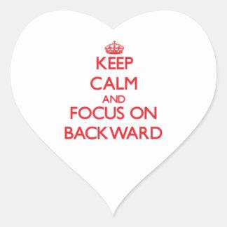 Keep Calm and focus on Backward Heart Sticker