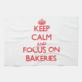 Keep Calm and focus on Bakeries Tea Towel