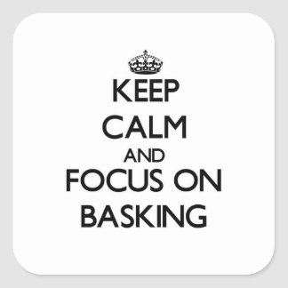 Keep Calm and focus on Basking Square Sticker