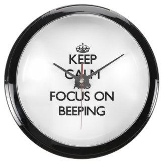 Keep Calm and focus on Beeping Aqua Clock