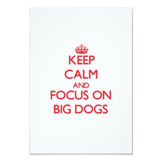 "Keep Calm and focus on Big Dogs 3.5"" X 5"" Invitation Card"