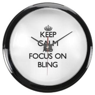 Keep Calm and focus on Bling Aquavista Clocks