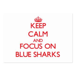Keep calm and focus on Blue Sharks Business Cards