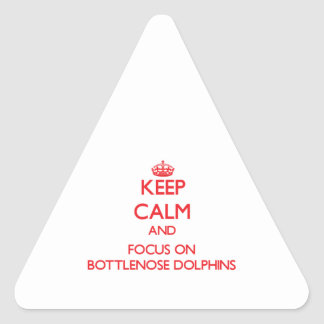 Keep calm and focus on Bottlenose Dolphins Triangle Sticker