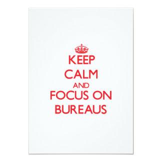 """Keep Calm and focus on Bureaus 5"""" X 7"""" Invitation Card"""