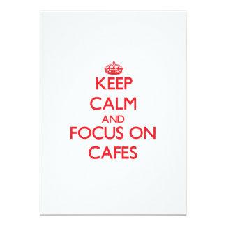 """Keep Calm and focus on Cafes 5"""" X 7"""" Invitation Card"""