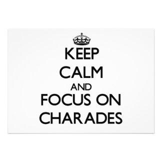 Keep Calm and focus on Charades Custom Invites