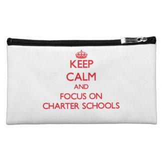 Keep Calm and focus on Charter Schools Makeup Bag