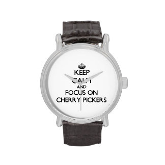 Keep Calm and focus on Cherry Pickers Wristwatch