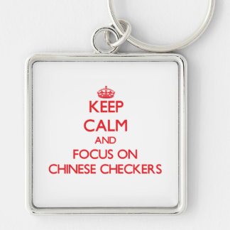 Keep calm and focus on Chinese Checkers Keychain