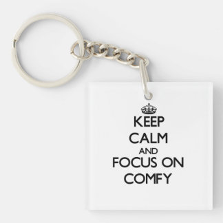 Keep Calm and focus on Comfy Square Acrylic Key Chains