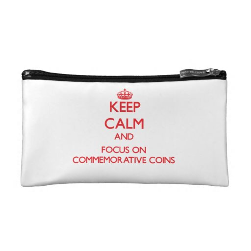 Keep Calm and focus on Commemorative Coins Makeup Bags