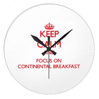 Keep Calm and focus on Continental Breakfast Wallclocks
