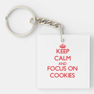 Keep Calm and focus on Cookies Double-Sided Square Acrylic Key Ring