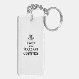Keep Calm and focus on Cosmetics Rectangular Acrylic Keychains