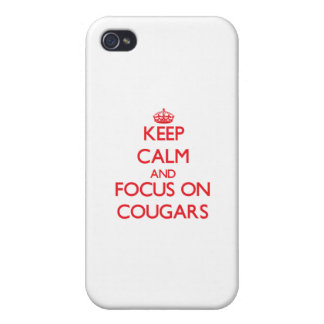 Keep Calm and focus on Cougars Cover For iPhone 4