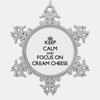 Keep Calm and focus on Cream Cheese Pewter Snowflake Decoration