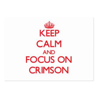 Keep Calm and focus on Crimson Business Card Templates