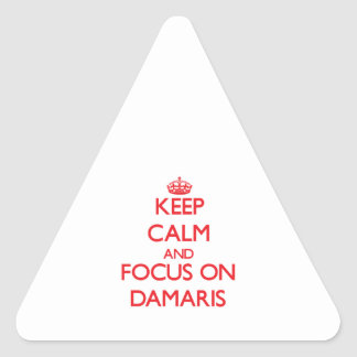Keep Calm and focus on Damaris Triangle Sticker