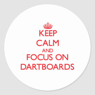 Keep Calm and focus on Dartboards Round Sticker