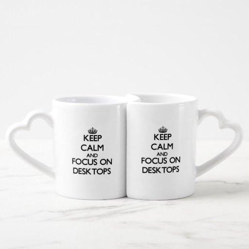 Keep Calm and focus on Desktops Couple Mugs