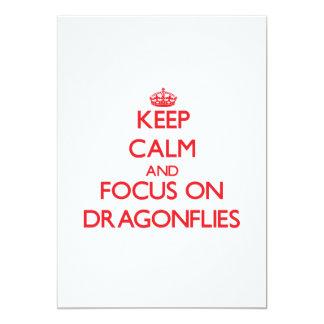 Keep Calm and focus on Dragonflies 13 Cm X 18 Cm Invitation Card