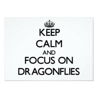 Keep Calm and focus on Dragonflies Custom Invitation