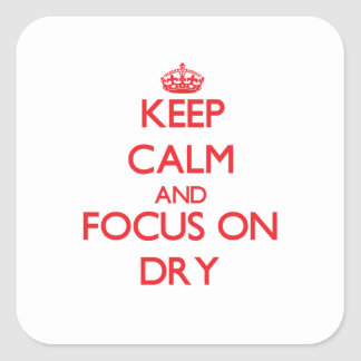 Keep Calm and focus on Dry Square Stickers