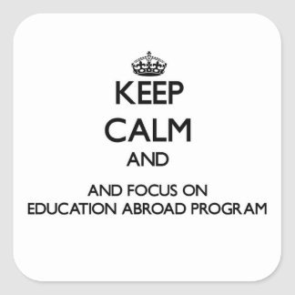 Keep calm and focus on Education Abroad Program Square Sticker