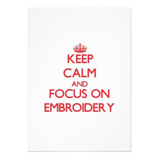 Keep Calm and focus on EMBROIDERY Custom Invitations