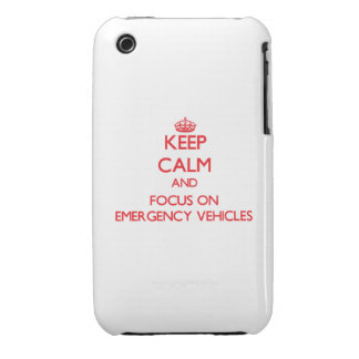 Keep Calm and focus on EMERGENCY VEHICLES iPhone 3 Cover