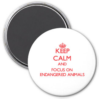 Keep Calm and focus on ENDANGERED ANIMALS Magnet