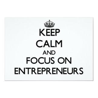 Keep Calm and focus on ENTREPRENEURS 13 Cm X 18 Cm Invitation Card