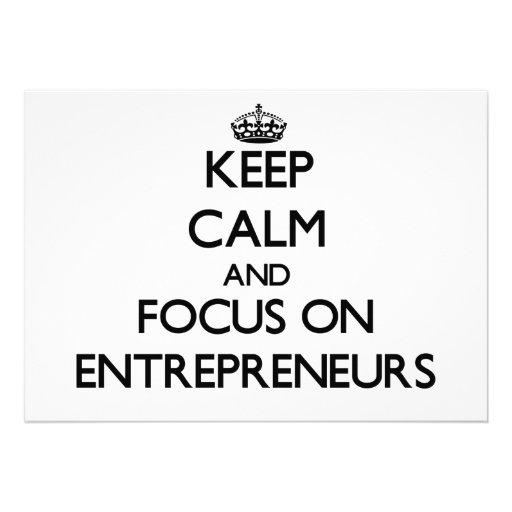 Keep Calm and focus on ENTREPRENEURS Custom Invitations