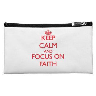 Keep Calm and focus on Faith Cosmetic Bag