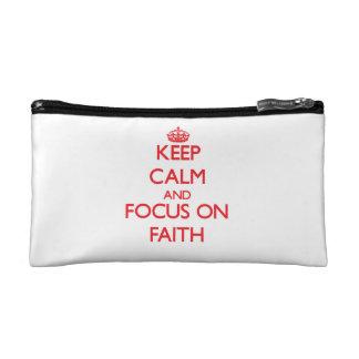 Keep Calm and focus on Faith Makeup Bag