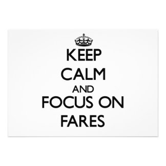 Keep Calm and focus on Fares Announcements