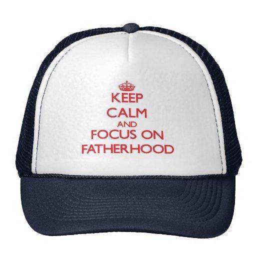 Keep Calm and focus on Fatherhood Mesh Hats