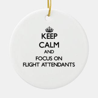 Keep Calm and focus on Flight Attendants Christmas Ornament