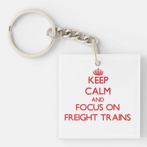 Keep Calm and focus on Freight Trains Acrylic Keychains