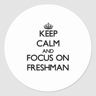 Keep Calm and focus on Freshman Round Stickers