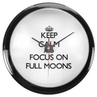 Keep Calm and focus on Full Moons Aqua Clocks