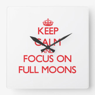 Keep Calm and focus on Full Moons Wallclocks