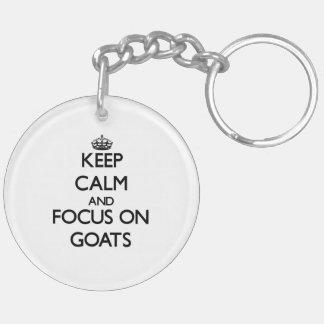 Keep Calm and focus on Goats Double-Sided Round Acrylic Keychain