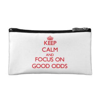 Keep Calm and focus on Good Odds Makeup Bags